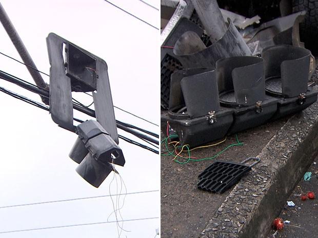 Com o impacto da batida, o equipamento de sinalização também ficou destruído e o sistema air bag do carro foi acionado.  (Foto: Reprodução/ TV Bahia)