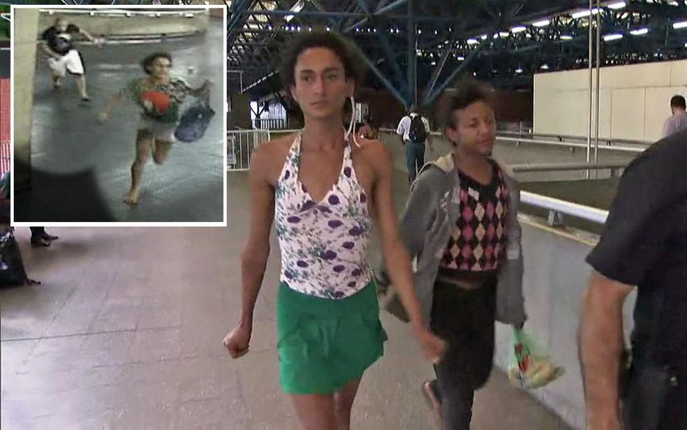 Travesti fugiu dos agressores dentro da estação de Metrô (Foto: TV Globo/Reprodução)