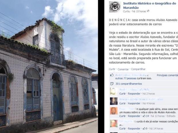 Postagem feita pelo Instituto Histórico e Geográfico do Maranhão em rede social (Foto: Reprodução/Internet)
