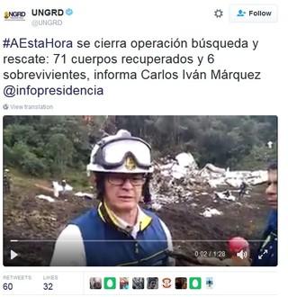 resgate chapecoense finalizado (Foto: Reprodução / Twitter)