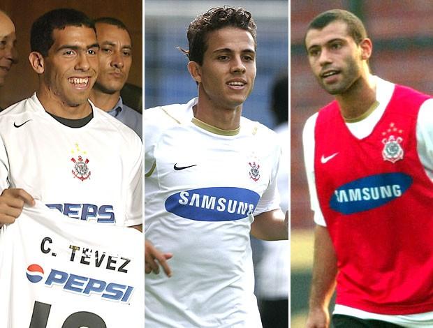 montagem Tevez Nilmar e Mascherano Corinthians (Foto: Editoria de Arte / Globoesporte.com)