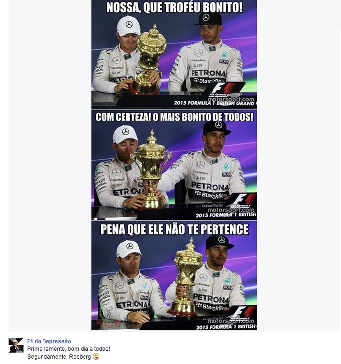 Nico Rosberg e Lewis Hamilton na coletiva de imprensa após o GP da Inglaterra (Foto: Reprodução/Twitter)
