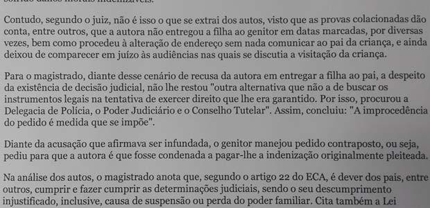 Trecho de publicação do Tribunal de Justiça do Distrito Federal, confirmando condenação a mãe por praticar alienação parental (Foto: Reprodução)