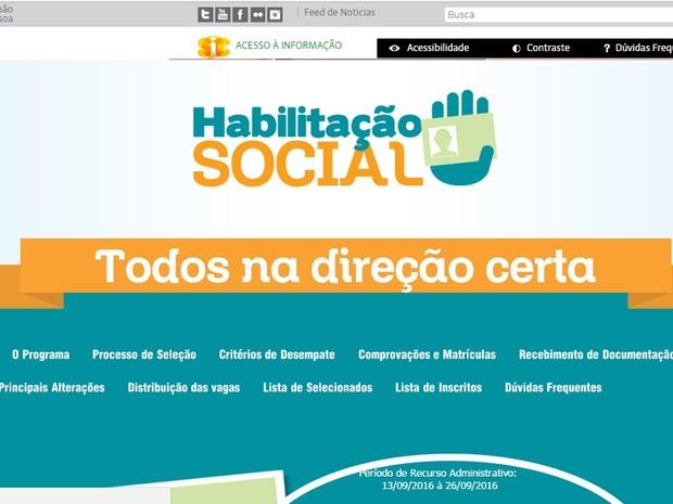 Programa Habilitação Social na Paraíba (Foto: Reprodução / Site oficial Habilitação Social)