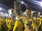 Ju Isen, musa das manifestações,  protesta nua em ensaio de carnaval