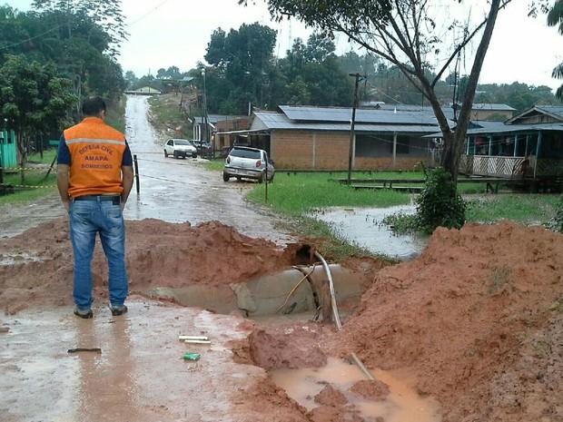 enchente, tartarugalzinho, amapá, (Foto: Defesa Civil/Divulgação)
