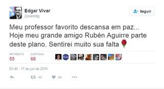 Edgar Vivar anuncia morte de RubénAguirre (Foto: Reprodução/Instagram)