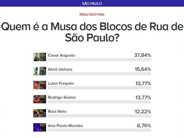 Votação final musa dos blocos de São Paulo (Foto: G1)