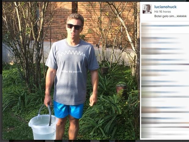 Luciano Huck participa do desafio do balde de gelo (Foto: Reprodução/Instagram)