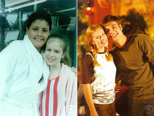 Dois momentos de Ludmila em Malhação: à esquerda, a atriz com Bruno de Luca e, à direita, com o ator Fábio Azavedo (Foto: CEDOC / TV Globo)