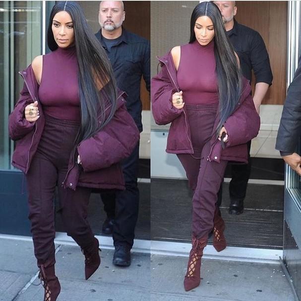 Kim Kardashian chegando ao desfile da Yeezy, em Nova York (Foto: Reprodução/Instagram)