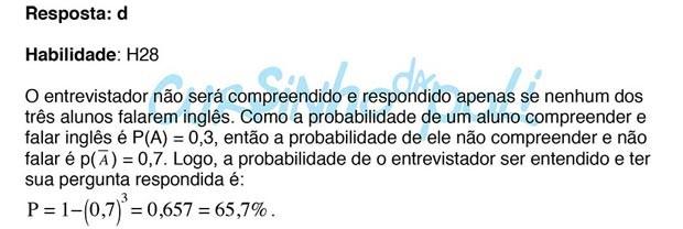 8 - Probabilidade (2º Dia - 149 da Prova Amarela) - RESPOSTA (Foto: Reprodução/Inep)