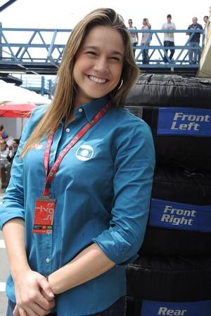 Fernanda Gentil na F-1 (Foto: David Abramvezt)