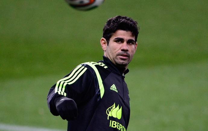 treino Espanha Diego Costa (Foto: AFP)
