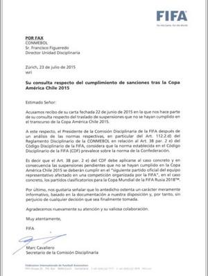 Fax da Fifa sobre suspensão do Neymar (Foto: Reprodução Twitter)