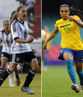 Marta e Banini (Foto: Confederação Sul-Americana de Futebol/ Getty Image/ Montagem)