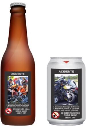 Lei municipal obriga rótulos de bebidas alcoólicas a estampar fotos de acidentes, em Goiânia, Goiás (Foto: Divulgação/Cida Garcêz)
