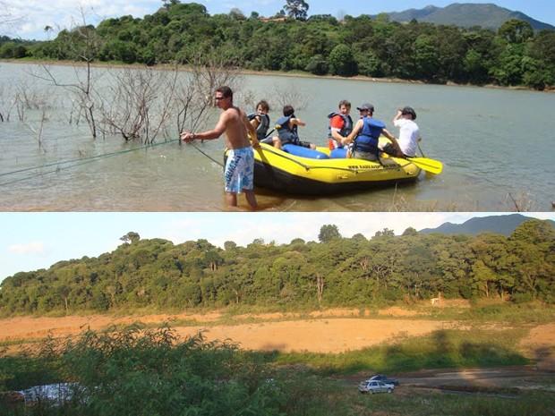 Acima foto da represa de Vargem em novembro de 2009 e abaixo imagem registrada nesta quinta-feira (6) em ponto próximo ao primeiro registro do internauta. (Foto: José Luiz Borriero/VC no G1)
