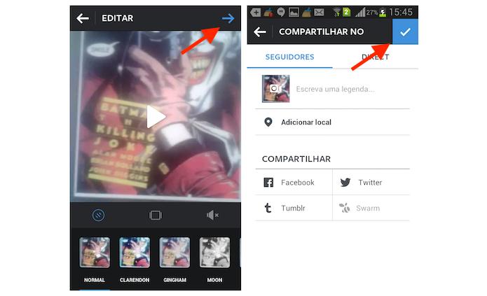 Postando um vídeo com um minuto no Instagram para Android (Foto: Reprodução/Marvin Costa)