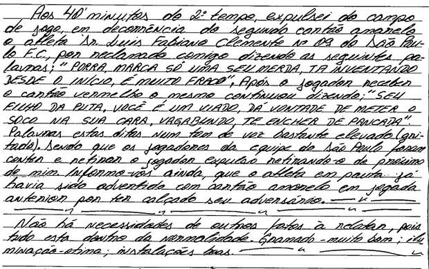 Súmula com xingamentos (FORTES) de Luis Fabiano - São paulo X Atlético-Mg (Foto: Reprodução )