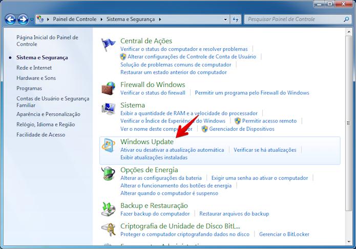 Vá até o Windows Update (Foto: Reprodução/Helito