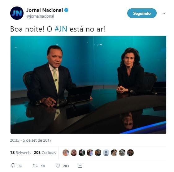 Heraldo Pereira assume bancada do Jornal Nacional com  Heraldo Pereira  (Foto: Reprodução/Twitter)