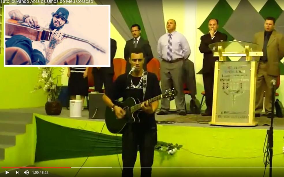 Vìdeo mostra Maycon Reis tocando e cantando em culto evangélico em 2011 (Foto: Reprodução/YouTube/iadshammah)