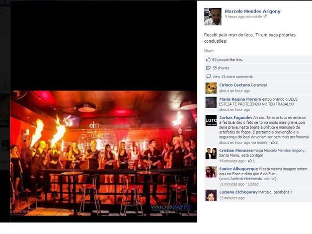 Delegado posta foto que mostra uso de fogo na boate Kiss (Foto: Reprodução/Facebook)