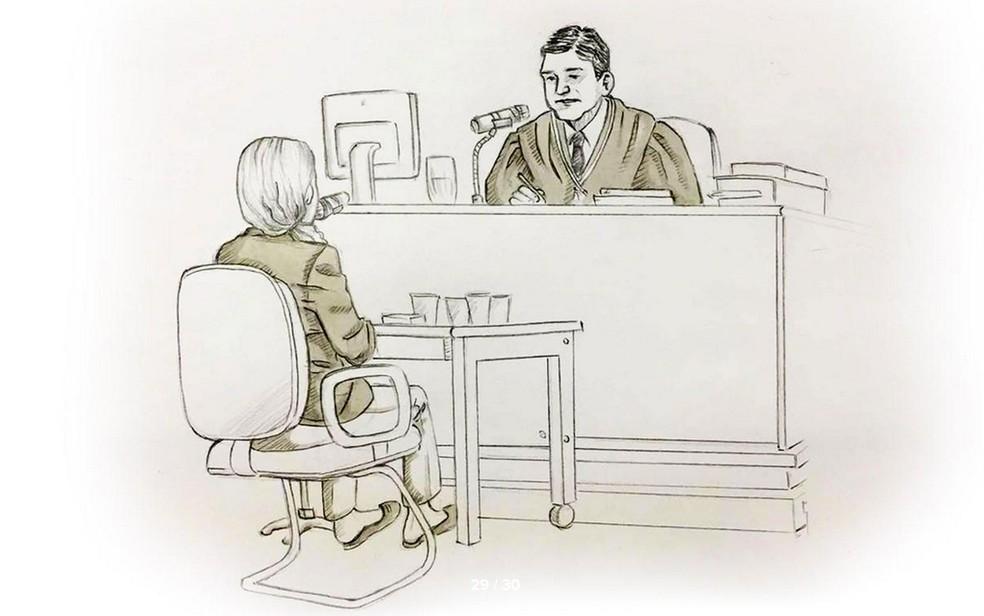 Ilustração mostra Elize Matsunaga respondendo a perguntas do juiz (Foto: Roberta Jaworski/Editoria de Arte/G1)