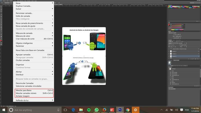 Photoshop tem opção que mescla camadas em uma só (Foto: Reprodução/Elson de Souza)