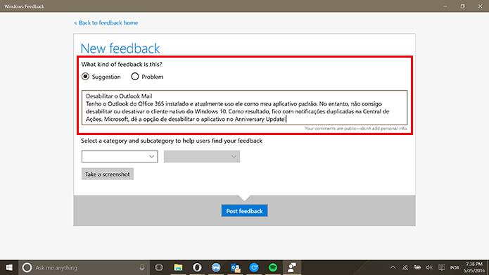 Windows Feedback tem título de reclamação e descrição no mesmo campo (Foto: Reprodução/Elson de Souza)