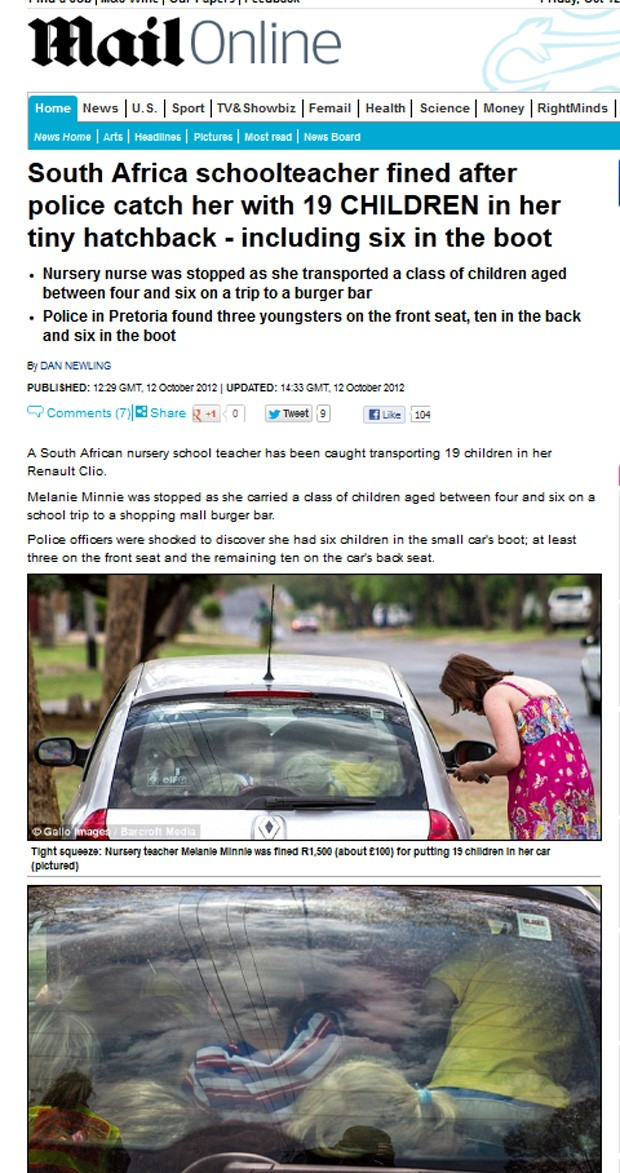Policiais encontraram crianças no banco traseiro, no banco da frente e até no porta-malas do carro (Foto: Reprodução/Daily Mail)