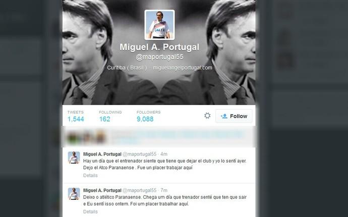 Miguel Ángel Portugal informou a saída do Atlético-PR pelo Twitter (Foto: Reprodução/Twitter)
