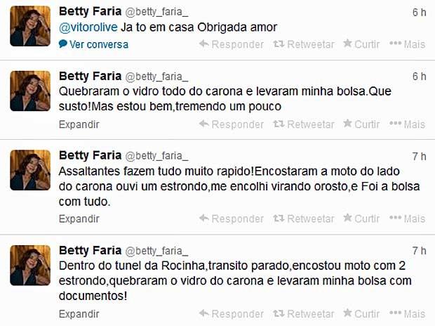 Relato de Betty Faria no Twitter. (Foto: Reprodução / Twitter / Betty Faria)