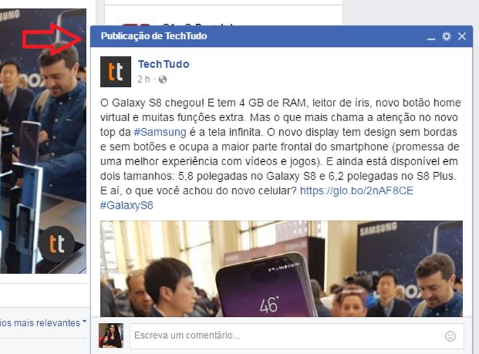 Facebook agora destaca publicações com mais interações em janelas pop-up (Foto: Reprodução/Gabrielle Lancellotti)