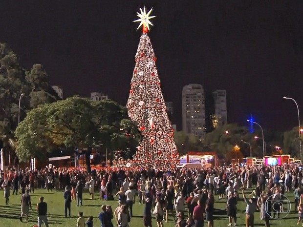Árvore de Natal do Ibirapuera é inaugurada neste sábado (Foto: Reprodução/ TV Globo)