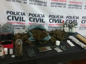 Apreensão drogas Juiz de Fora (Foto: Polícia Civil Juiz de Fora/Divulgação)