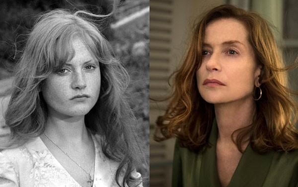 Isabelle Huppert em 'Le prussien' (1971) e 'Elle' (2016) (Foto: Divulgação)