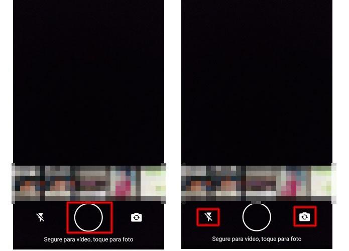 Se quiser tirar foto, aperte o botao do meio. Para gravar, basta pressionar continuamente