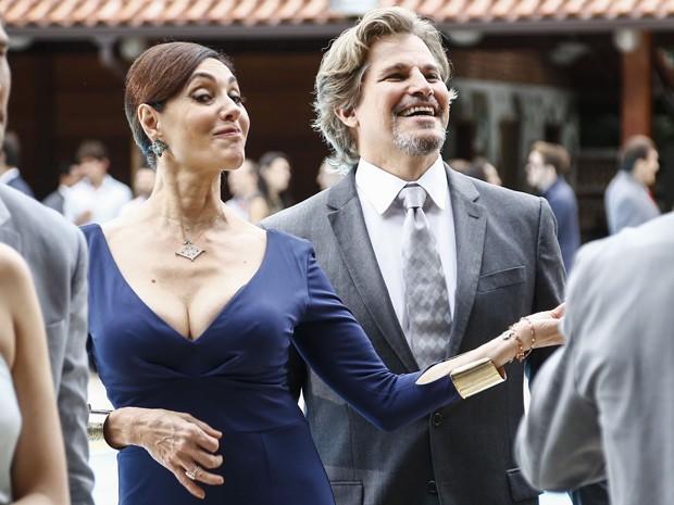 Maria Inês e Marcelo, que também passaram por tantos altos e baixos, ficaram juntinhos (Foto: Raphael Dias/ Gshow)