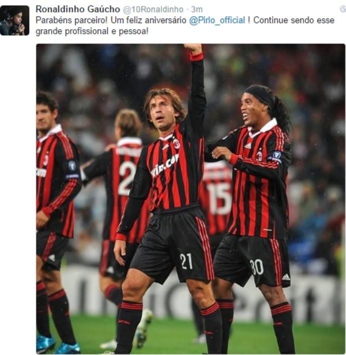 BLOG: Feliz Aniversário! Ronaldinho envia parabéns para Pirlo e exalta o italiano