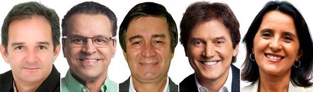 Araken Farias (PSL), Henrique Eduardo Alves (PMDB), Professor Robério Paulino (PSOL), Robinson Faria (PSD) e Simone Dutra (PSTU) são candidatos ao governo do RN (Foto: Assessorias dos candidatos)