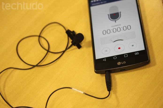 No Android, qualquer gravador de voz pode ajudar a captar o som com microfone Shure (Foto: Melissa Cruz / TechTudo)