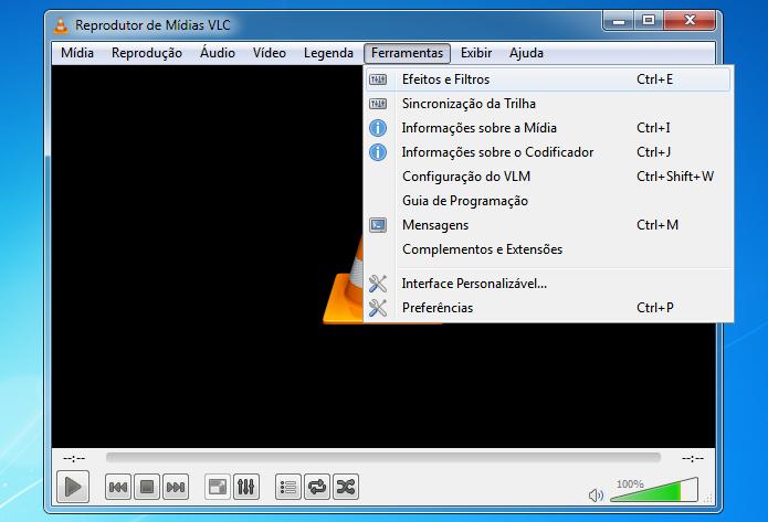 Acessando o equalizador do VLC (Foto: Reprodução/Helito Bijora)