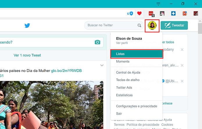 Usuários podem criar listas a partir do ícone de perfil na tela inicial do Twitter (Foto: Reprodução/Elson de Souza) (Foto: Usuários podem criar listas a partir do ícone de perfil na tela inicial do Twitter (Foto: Reprodução/Elson de Souza))