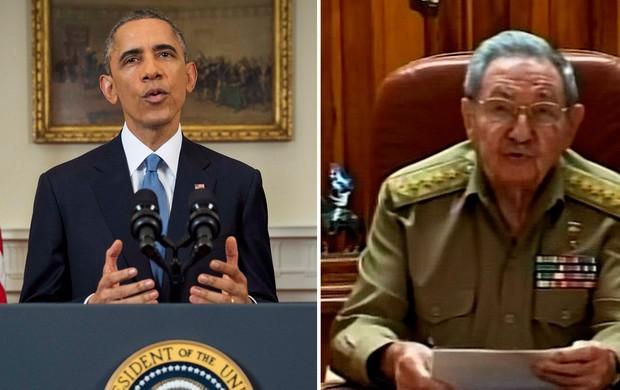 Obama, presidente dos Estados Unidos, e Raul Castro, presidente de Cuba (Foto: (Foto: Doug Mills/Pool/Reuters, Reprodução/Reuters))
