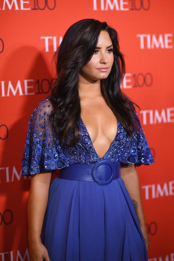 A cantora Demi Lovato na festa apresentando as 100 pessoas mais influentes do mundo segundo a revista Time (Foto: Getty Images)