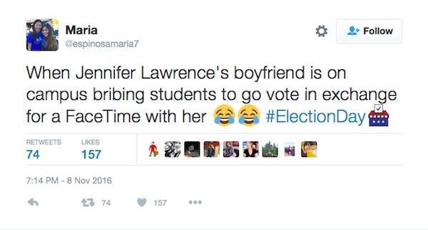 Uma estudante fala da proposta de Darren Aronofsky e Jennifer Lawrence no Twitter (Foto: Twitter)