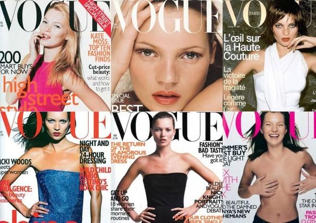 1- Vogue Londres Abril 1996 / 2- Vogue Londres Novembro 1997 / 3- Vogue Londres Junho 1998 / 4- Vogue Londres Novembro 1998 / 5-- Vogue Paris Março 1999 / 6- Vogue Londres Abril 1999 (Foto: reprodução)