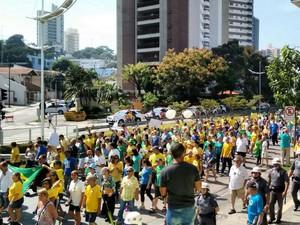 Manifestação em Jundiaí (Foto: Patrícia Vergara/TV Tem)